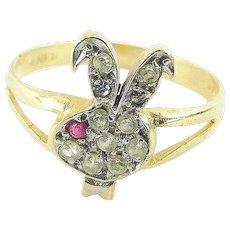 Vintage 14k Gold Playboy BUNNY GIRL Rabbit Ring RUBY & Diamond Paste