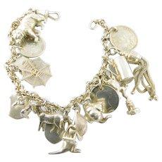 Antique VICTORIAN Fancy Silver Bracelet 18 Antique & Vintage CHARMS