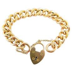 Antique VICTORIAN 9ct Rose Gold DAY & NIGHT Curb Link Bracelet HEART Padlock Fastener