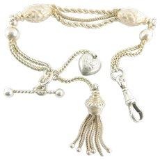 Antique VICTORIAN Sterling Silver ALBERTINA Bracelet Tassel & Heart Charms