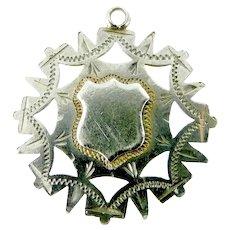 Antique VICTORIAN Silver Pierced Charm FOB Pendant Applied SHIELD 1900