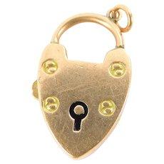 Vintage 9ct Rose Gold HEART Shaped BOLT SNAP Padlock Bracelet Fastener PENDANT