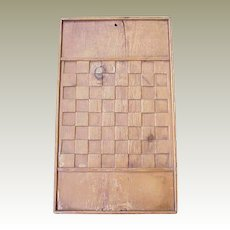 Folk Art Carved Pine Checker Board 1800's