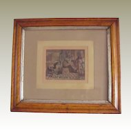 "Rare 1880's Framed Chromolithograph of a young ""Uncle Sam"" and Miller's Boot Black"
