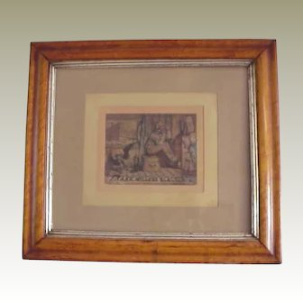 """Rare 1880's Framed Chromolithograph of a young """"Uncle Sam"""" and Miller's Boot Black"""