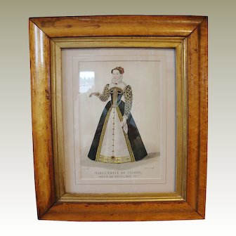 """Early Lithograph of  """"Queen Margot"""" of France"""