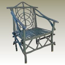 Teal Painted Bent Wood Twig Chair