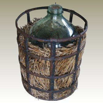 French Water Jug In Metal Container