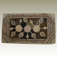 Late 19th C. Hooked Rug on Stretcher