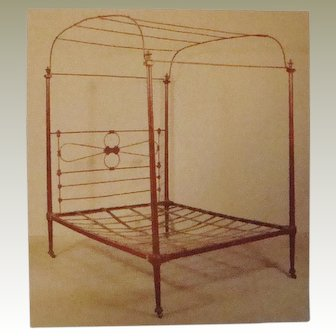 Antique Painted Iron Canopy Top Poster Bed Circa 1800's