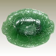Vintage Green Grape and Strawberry Majolica Tray