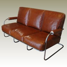 Art Deco Machine Age Leather Sofa circa 1935
