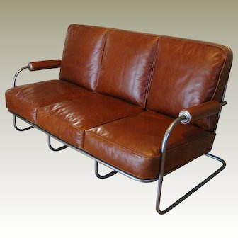 Art Deco Machine Age Leather Sofa circa 1935