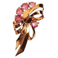 Boucher Pink Rhinestone & Sterling Pin