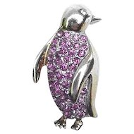 Sterling &  Pink Rhinestone Penguin Pin