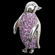 Sterling &  Pink Rhinestone Penguin Pin