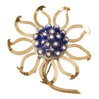 Nettie Rosenstein Sterling Vermeil Rhinestone Flower Fur/Pin Clip