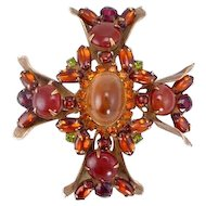 Juliana/DeLizza and Elster Fall Colors Rhinestone and Cabochon Cross Pin