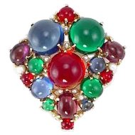 Colorful Glass Cabochon Brooch