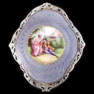 Lavender Enamel and Silver Trinket Box