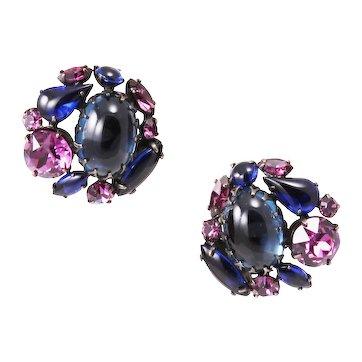 Schreiner Deep Sapphire Blue and Amethyst Rhinestone Earrings