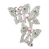 English Sterling Silver Paste Rhinestone Butterfly Pin/Brooch