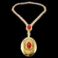 Hobe Egyptian Revival Glass Scarab Locket