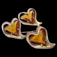 Topaz Rhinestone Three Heart Pin