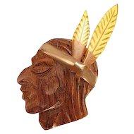 Large Bakelite and Wood Native American 1930s Pin