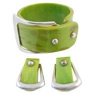 Vintage Bakelite Buckle Bracelet and Earrings