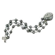 Miriam Haskell Smoky Gray Bead and Rhinestone Bracelet