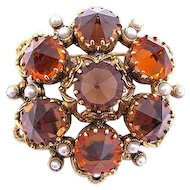 Austria Orange and Topaz Rhinestone Pin
