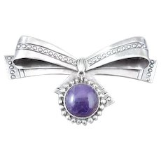 William Spratling Sterling Silver Amethyst Bow Pin/Brooch