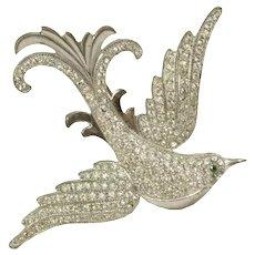 Vintage Sterling Silver Rhinestone Bird Pin
