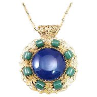 Miriam Haskell Green and Blue Large Medallion Style Necklace