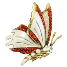 Germany Enamel and Glass Cabochon Butterfly Pin/Brooch
