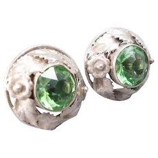 Hobe Unsigned Sterling Green Rhinestone Earrings