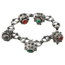 Italian Etruscan Revival 800 Silver Charm Bracelet