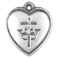 Cross and Crown Sterling Puffy Heart Vintage Charm