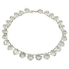 Aquamarine Rhinestone Sterling Silver Necklace