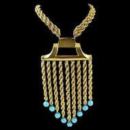 Les Bernard Turquiose Plastic Bead Large Necklace