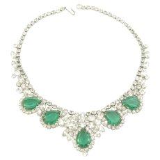 Juliana D&E Flawed Emerald Glass and Rhinestone Necklace