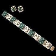 Terrific Early Vintage Mexican Silver Bracelet & Earrings