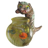 Wood Cat and Reverse Carved Bakelite Fish Bowl Pin