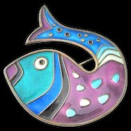 David Andersen Vintage Sterling Enamel Fish Brooch
