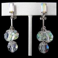 Lewis Segal Vintage Aurora Borealis Rhinestone Earrings