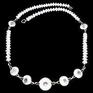 Vintage Art Deco Era Crystal Sterling Necklace: circa 1930