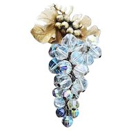 Vintage Articulated Grape Brooch with AB Crystal Beads: circa. 1960