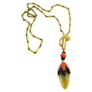 Vintage Carved Bakelite Pendant and Celluloid Necklace