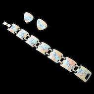 Vintage Kaye Denning Enameled Copper Bracelet & Earrings